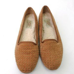 UGG Womens Suede Studded Ballet Smoking Flat Shoes